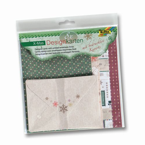11405 Заготовки для открыток с конвертами Christmas, 8 заготовок и 8 конвертов, Folia