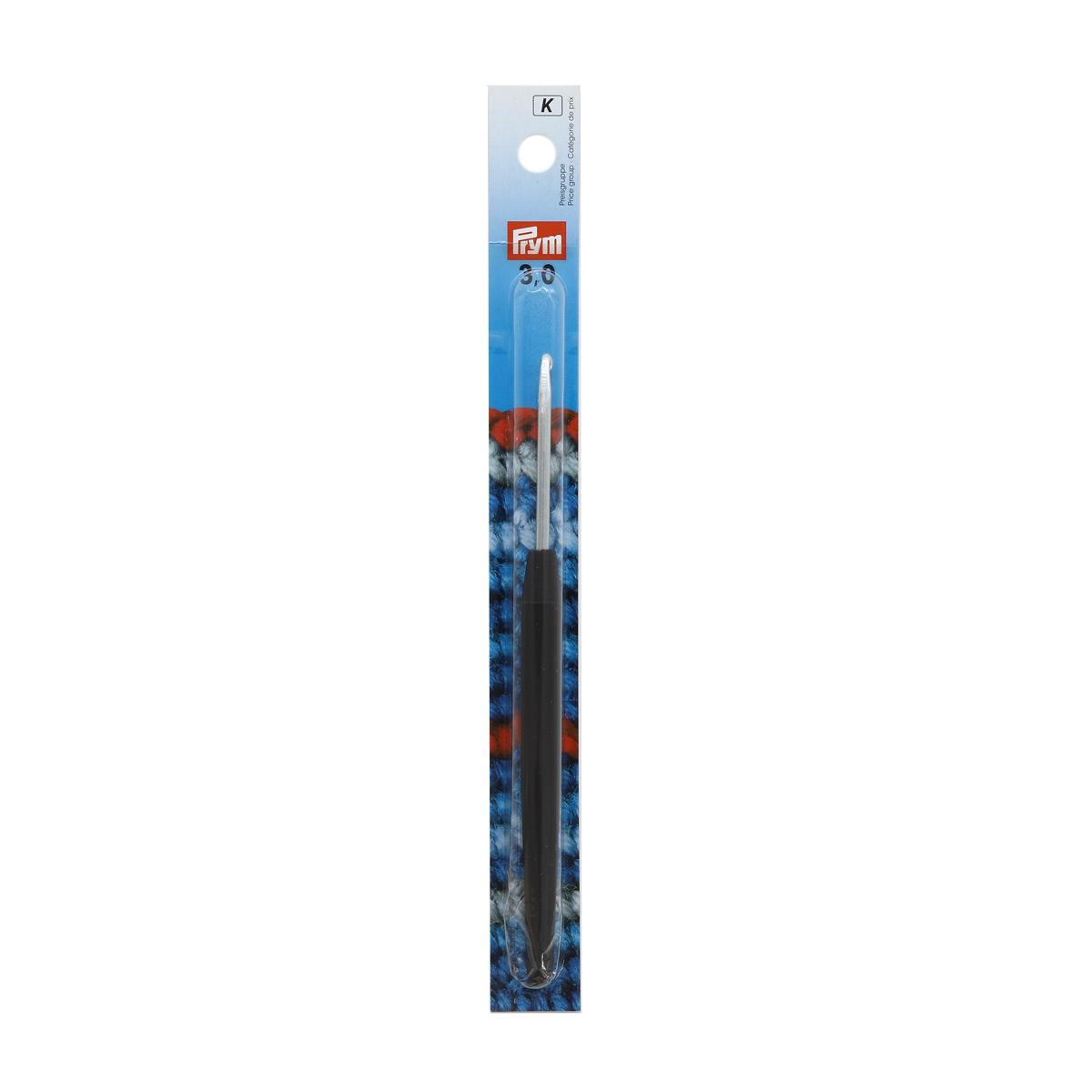 195174 Крючок для вязания с цветной ручкой, алюминий, 3,0 мм*14 см, Prym