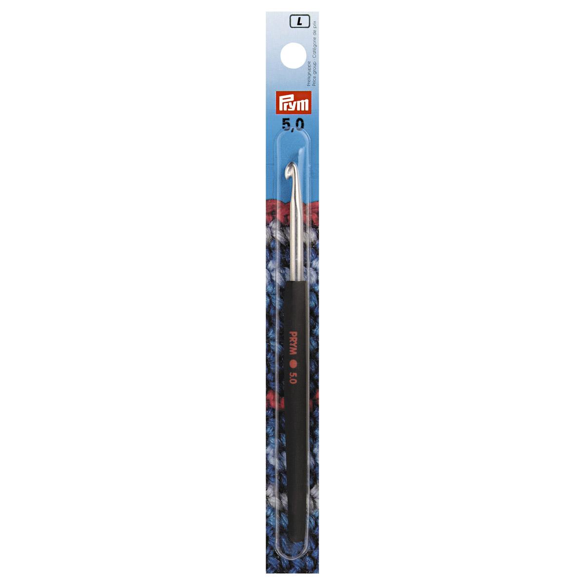 195178 Крючок для вязания с цветной ручкой, алюминий, 5 мм*14 см, Prym
