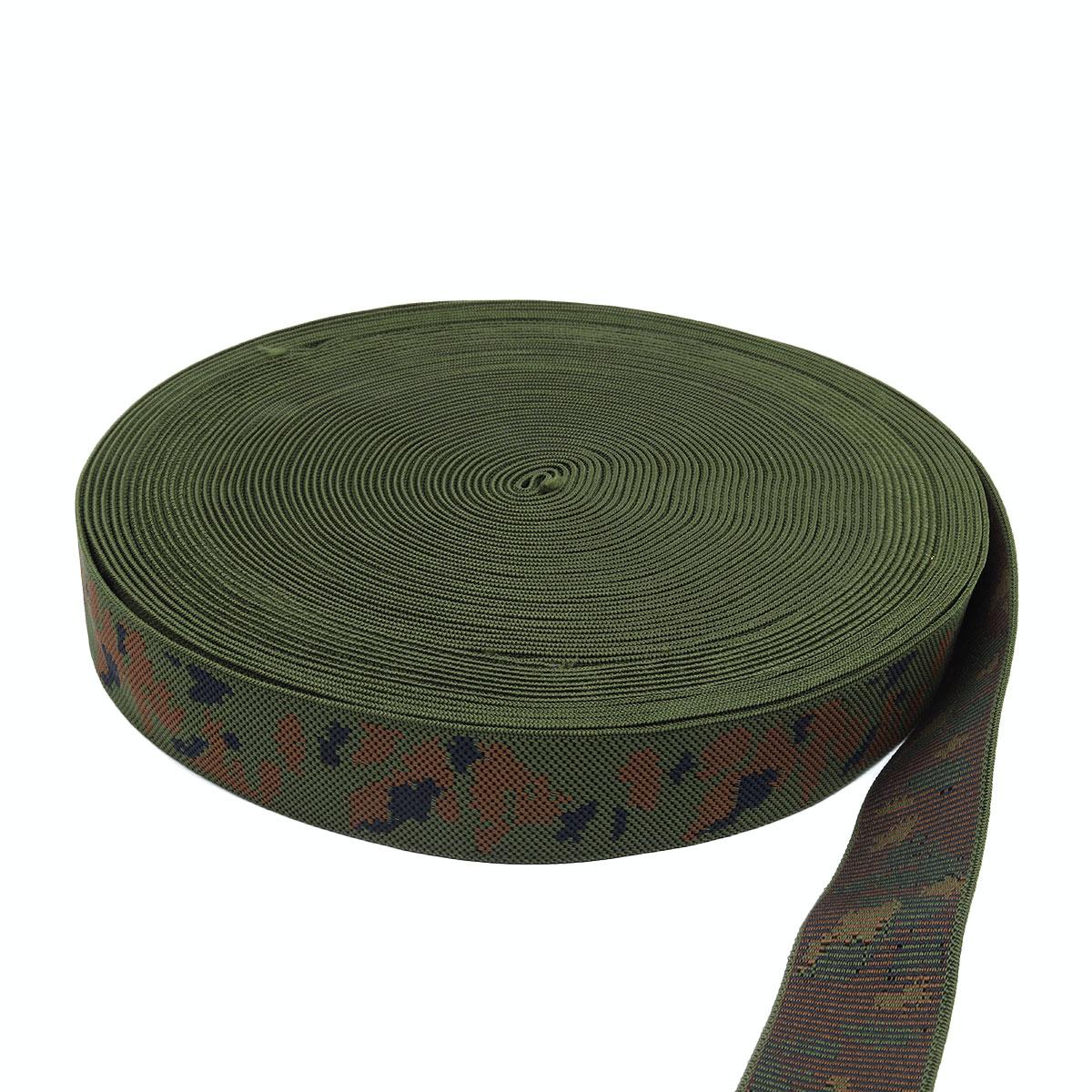 3340 Тесьма эластичная для подтяжек Камуфляж 40мм*25м, 158оливк./1корич./чер.
