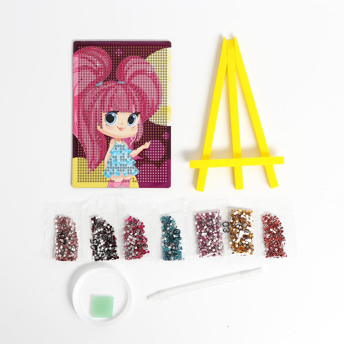 5094452 Алмазная мозаика для детей 'Милая девочка' + емкость, стержень с клеевой подушечкой