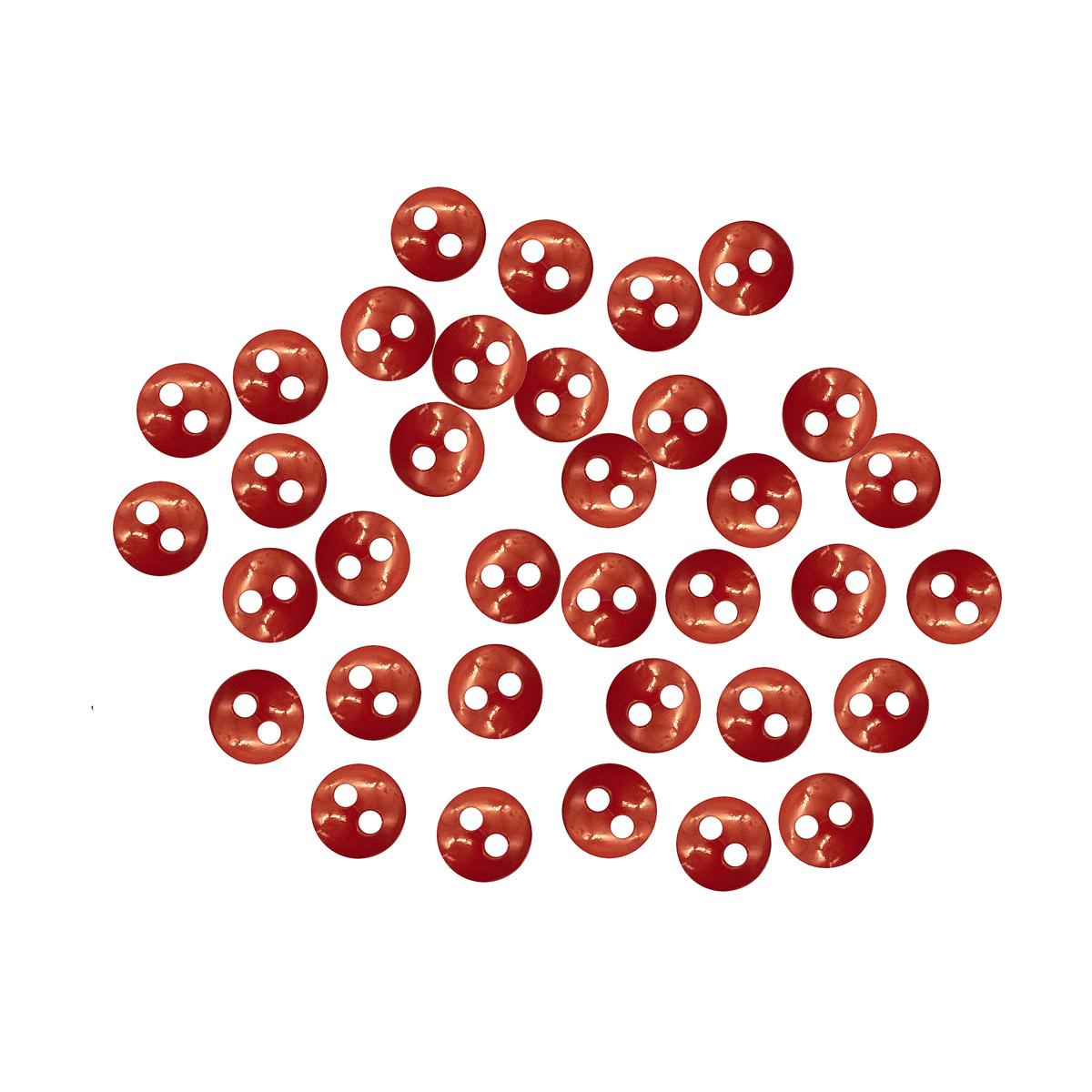 27379 Пуговицы 'Мини' на 2 прокола, 6мм, уп.50шт. +/- 2 шт. пластик, цв.красный