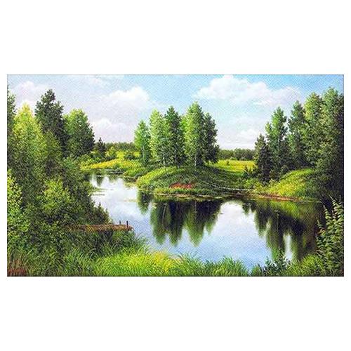 """Алмазная мозаика Алмазная живопись АЖ-1240 """"Тихая река"""" 30см.*50см."""