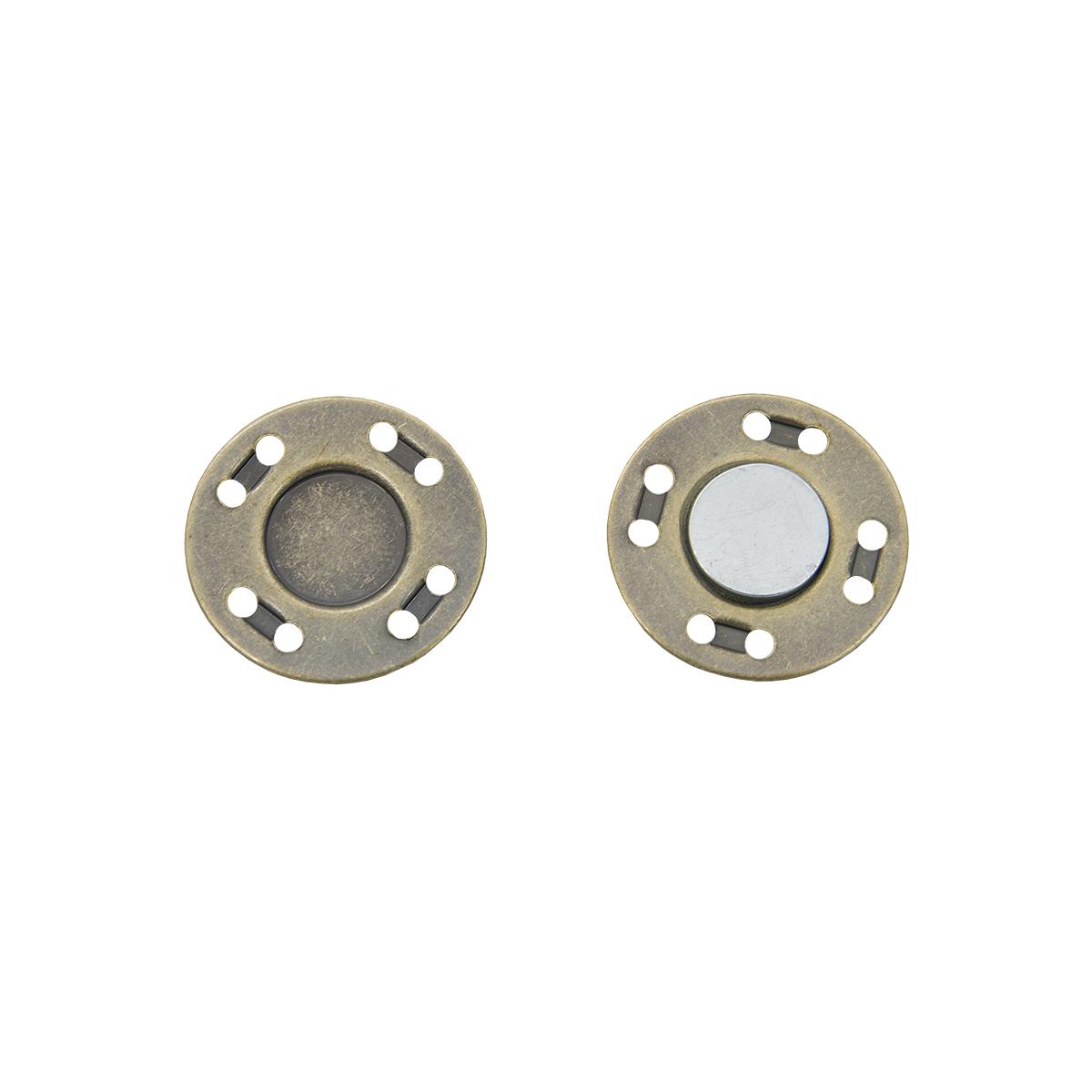 Кнопка магнитная пришивная 69017, 20 мм, латунь, упаковка 4 шт., Hobby&Pro