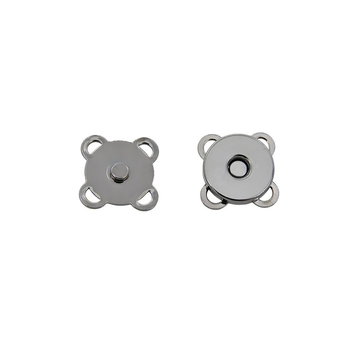 Кнопка магнитная пришивная 69021, 15 мм, черный никель, упаковка 4 шт., Hobby&Pro