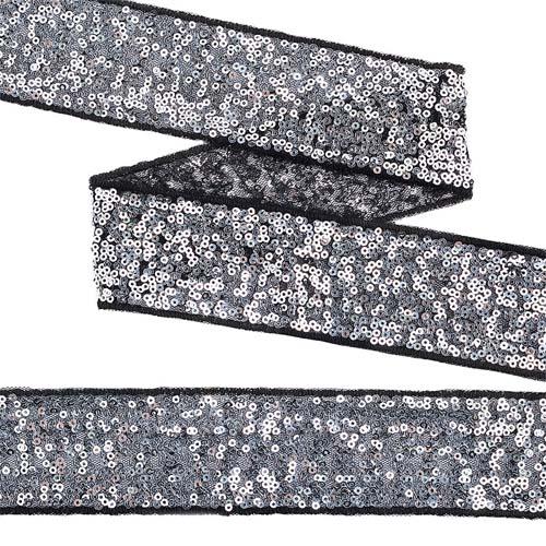 TDF05012 Тесьма с пайетками на сетке 50мм*13,7м, черный+серебро