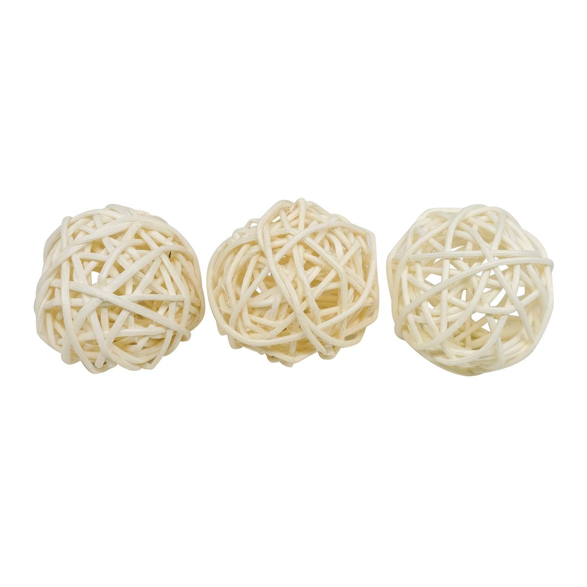 BH172AB Шары декоративные из ротанга 5см, 12шт/упак, цв.W (белый)
