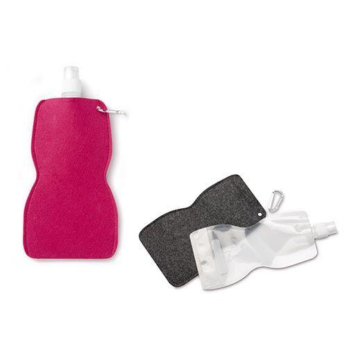 61212493 Сумка из фетра с пластиковой бутылкой для воды, фуксия, 14,7x30 см, Glorex