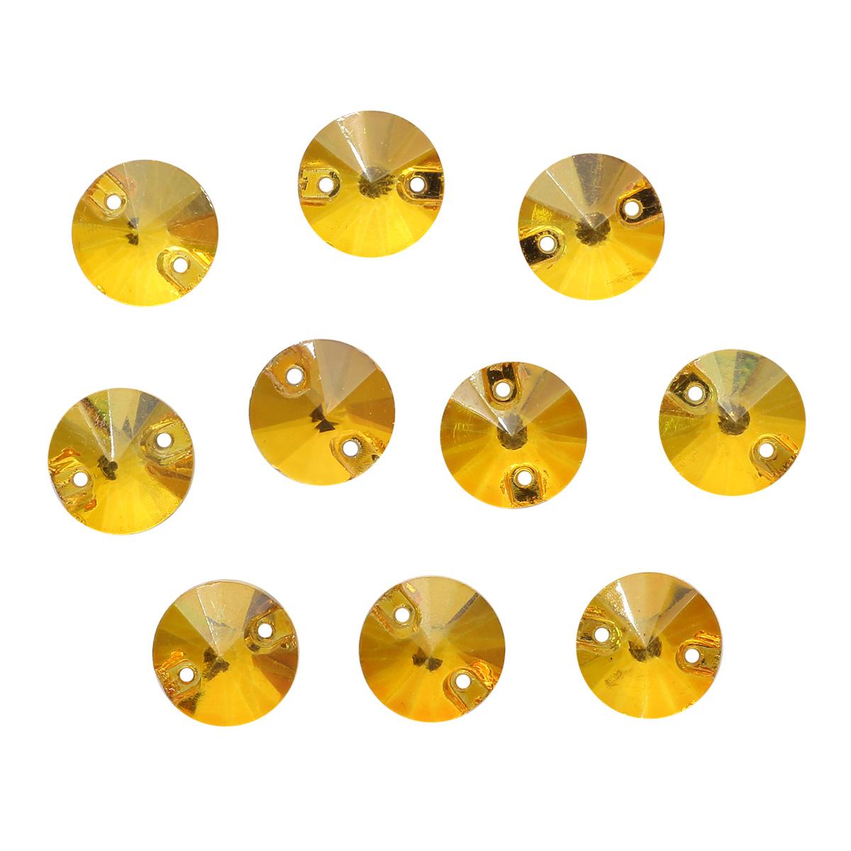 РИ002НН10 Хрустальные стразы пришивные круглые, желтые 10мм, 10шт/упак Астра