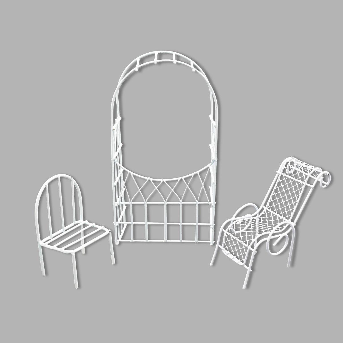 Мебель для куклы, 3 предмета (шезлонг, стул, арка), Астра