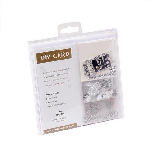 61238005 Набор для создания открыток (белый, серебро), Glorex