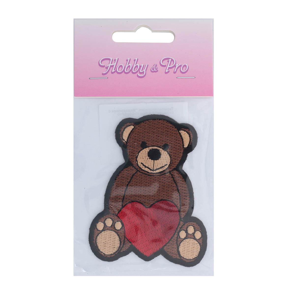 Термоаппликация 'Медвежонок с сердцем' 7,5*6см Hobby&Pro