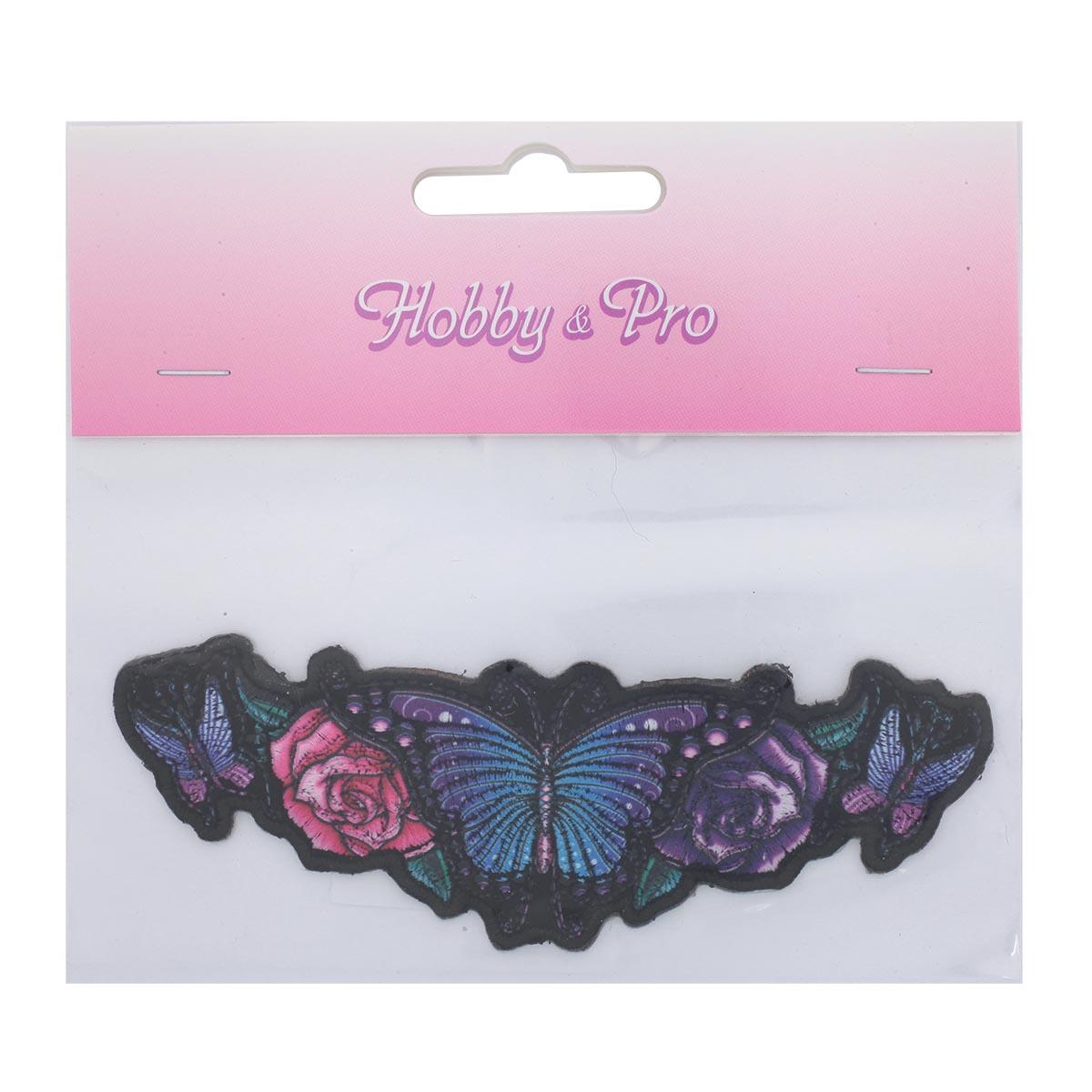 Термоаппликация 'Рой бабочек в цветах' 3,5*11,5см Hobby&Pro