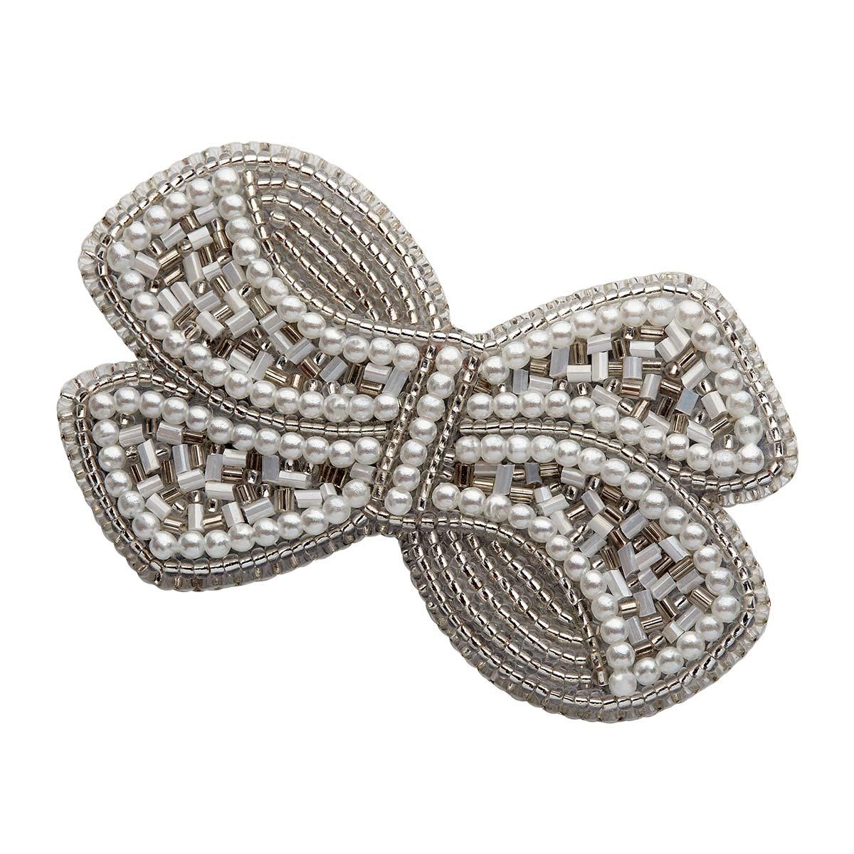 НБР-18005 Набор для вышивания бисером: Брошь «Бант белый с жемчугом».