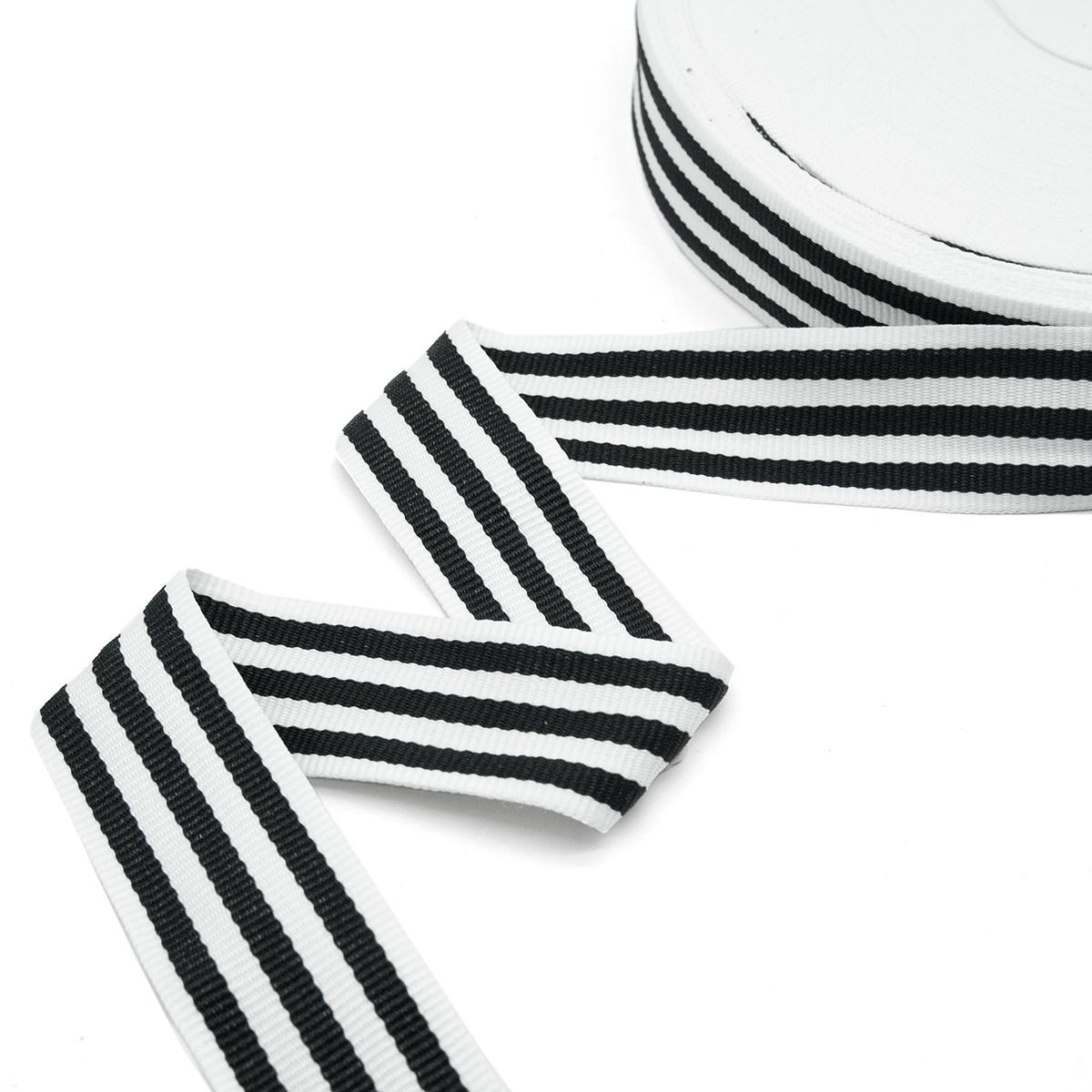 р90133 Лента отделочная бел/черн 30мм*50м