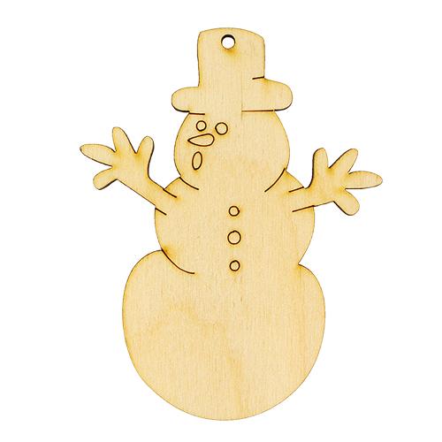 L-909 Деревянная заготовка 'Снеговик в шляпе' 7,5*9,5 см 'Астра'