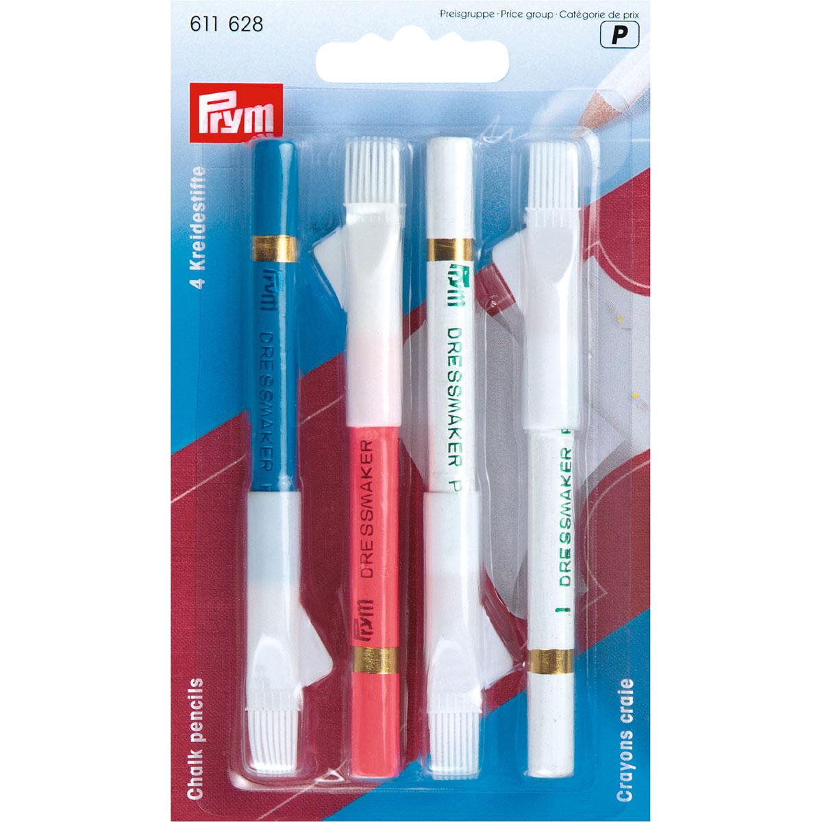 611628 Меловые карандаши со стирающей кисточкой, разноцв. набор Prym