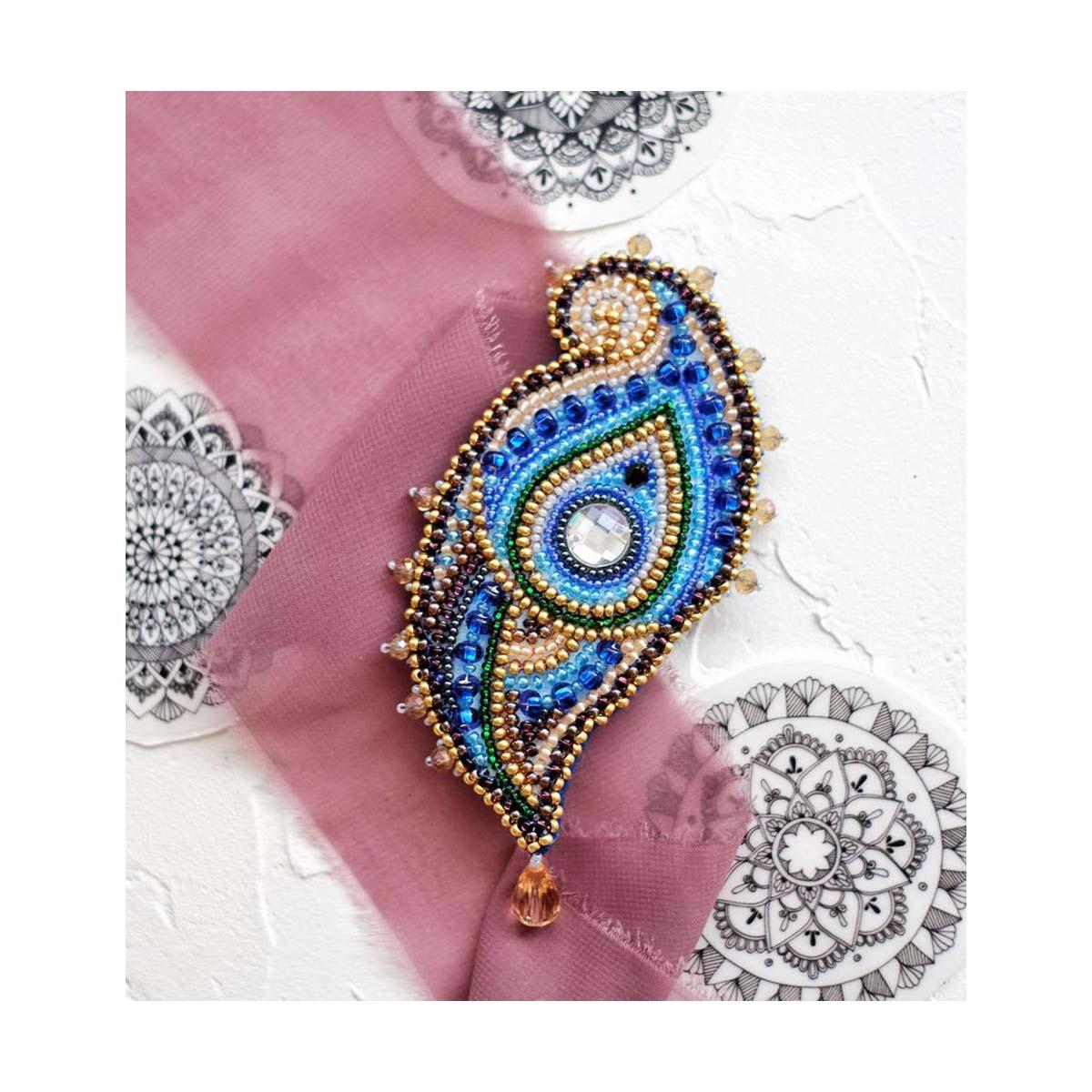 АД-021 Набор для вышивки бисером украшения на натур. художественном холсте Паттернхолст 'Эгретка'5,5*9,5см