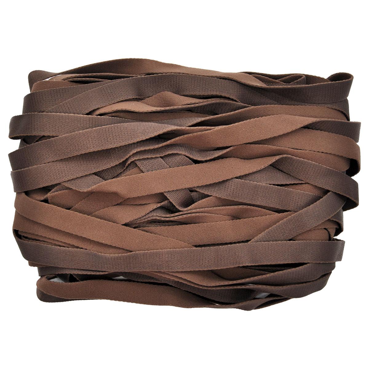 STP/30 эластичная бретелечная глянцевая лента 14мм*25м, шоколад