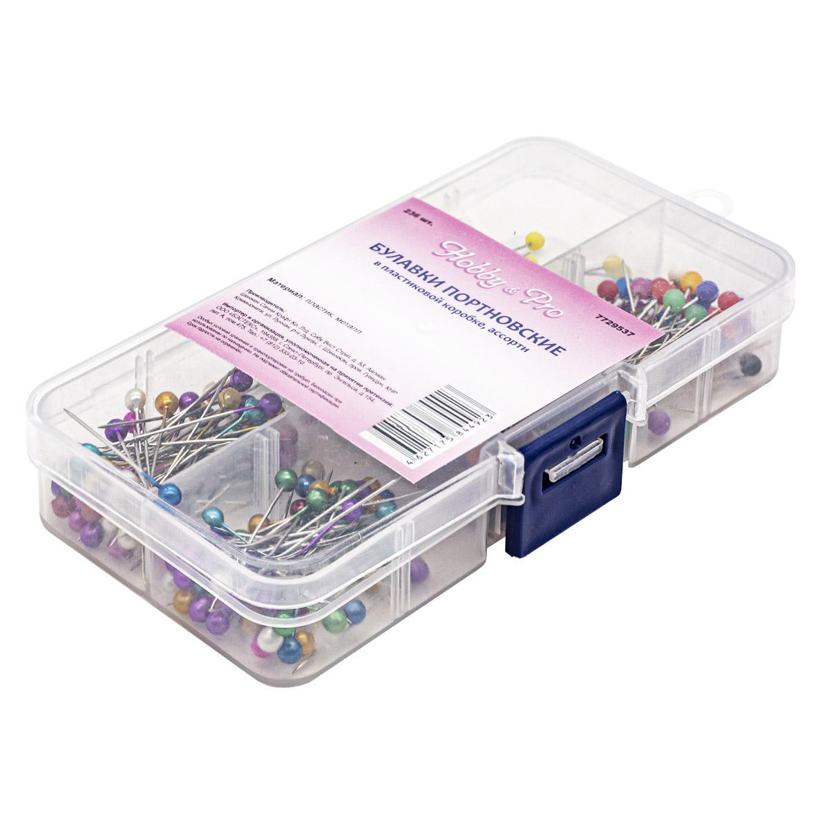 100404 Булавки портновские в пластиковой коробке, ассорти, 236шт Hobby&Pro
