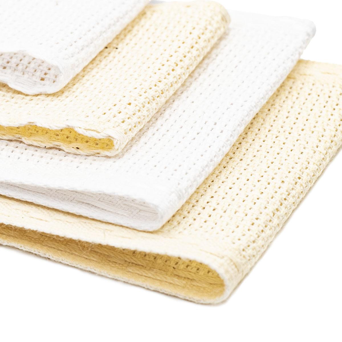 Набор канвы-ленты c обработанным краем 14ct, 1,5м*5см/1,5м*7см, 4шт, натуральный и белый цвета, Bestex