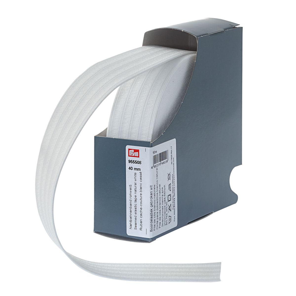 955508 Эластичная лента для уплотнения шва 40 мм 10м белый натуральный цв. Prym