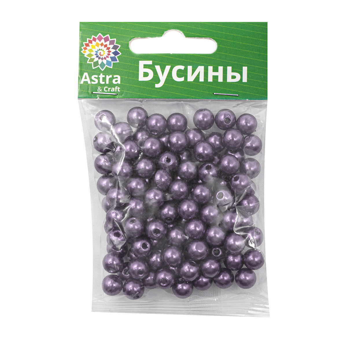 Бусы круглые, пластик, 8 мм, упак./25 гр., 'Астра'