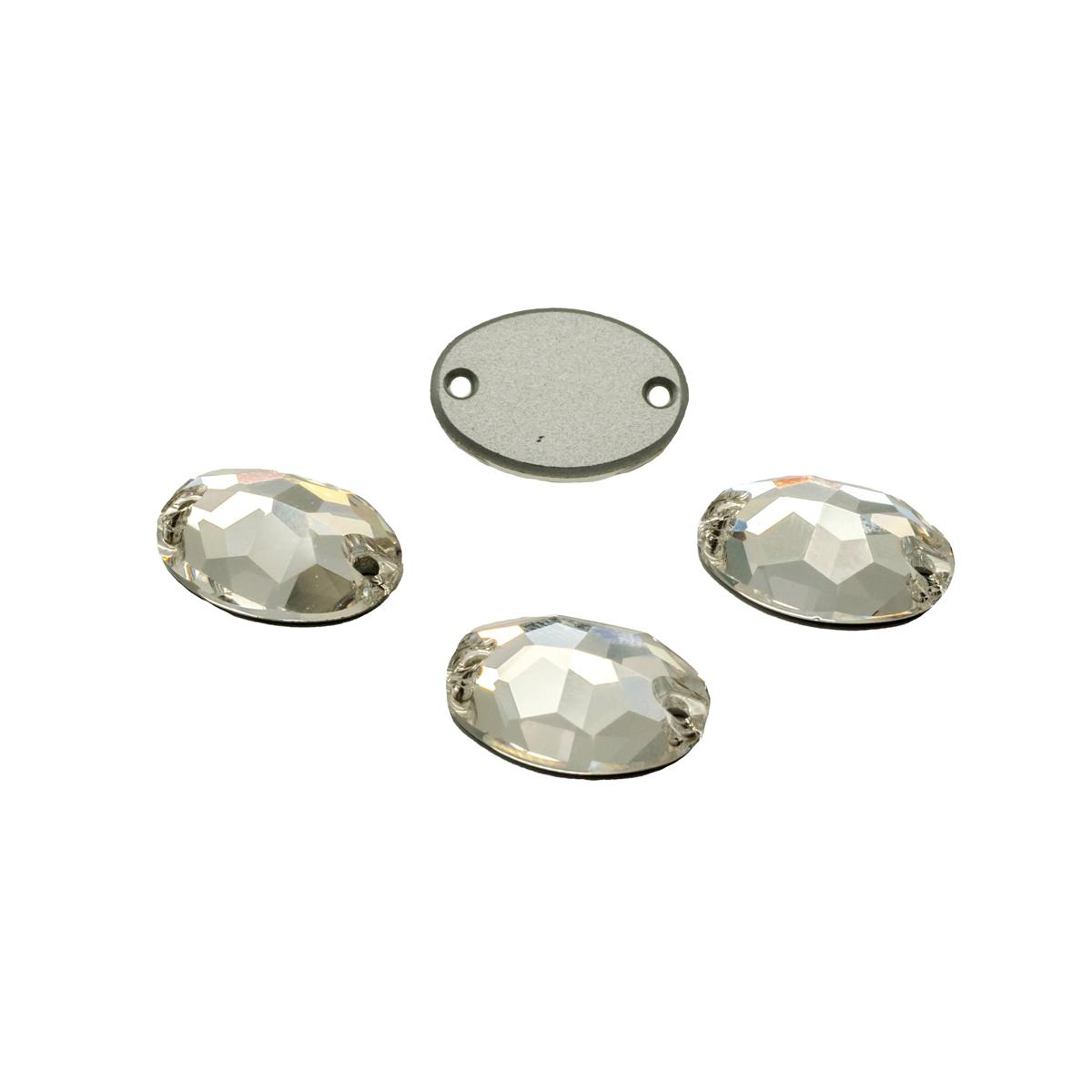 438-62-301 Стразы пришивные Овал, 2 отверстия Crystal 16x11мм. 4 шт. Preciosa