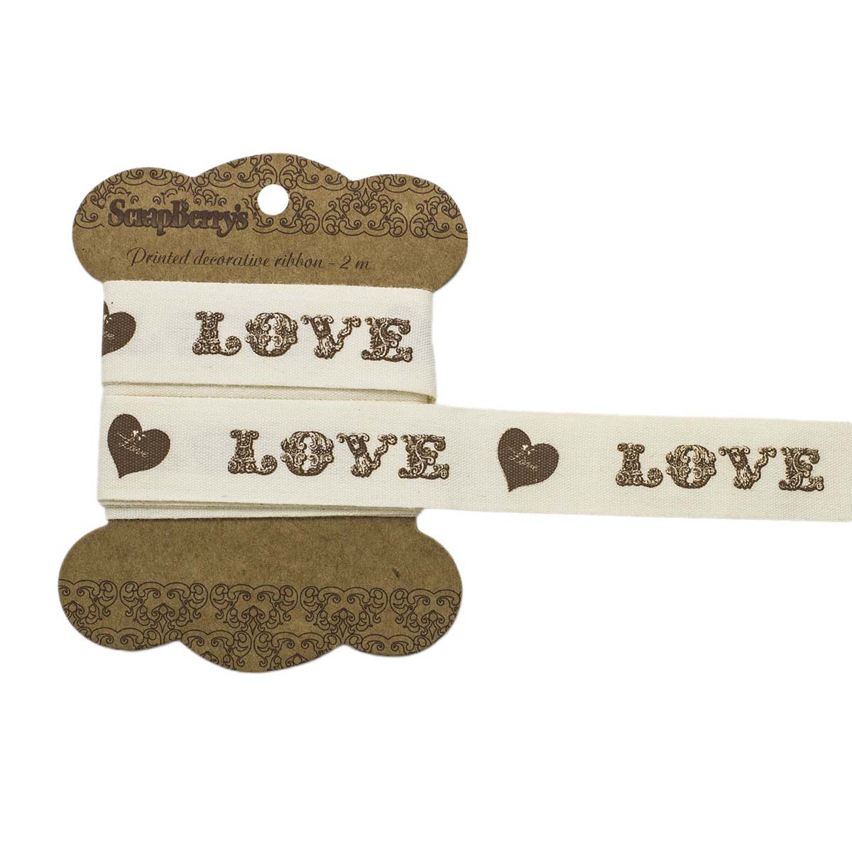 Лента отрезная Love, 20мм, 2м, хлопок SCB390320