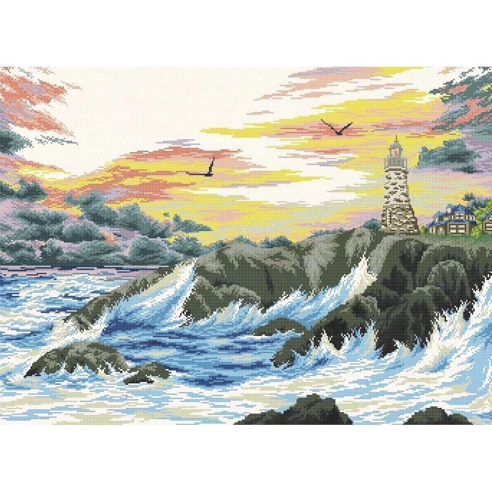 """Набор для вышивания крестом S-070 """"Скалистый берег"""", 61x45 см, Hobby&Pro"""
