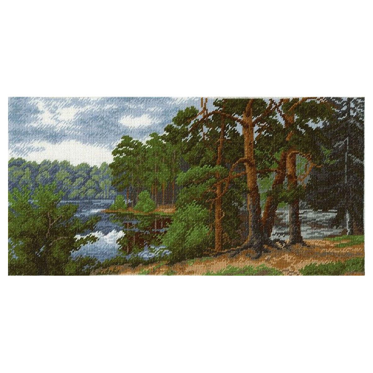 """Набор для вышивания 653 """"Лесное озеро"""", 32х16 см, Hobby&Pro"""