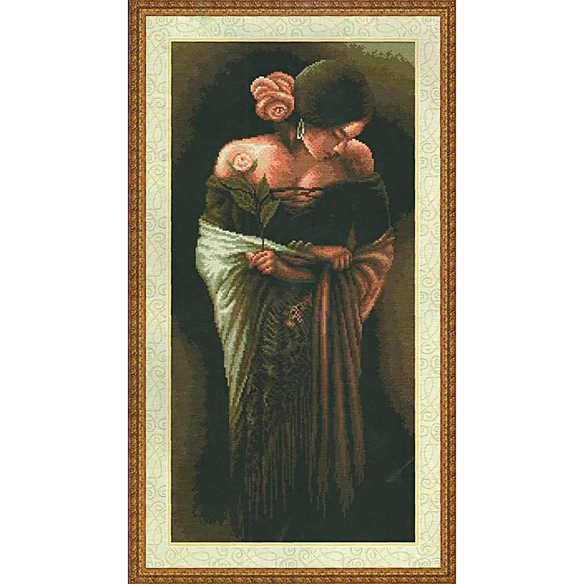 """Набор для вышивания крестом S-075 """"Девушка с цветком"""", 27x53 см, Hobby&Pro"""