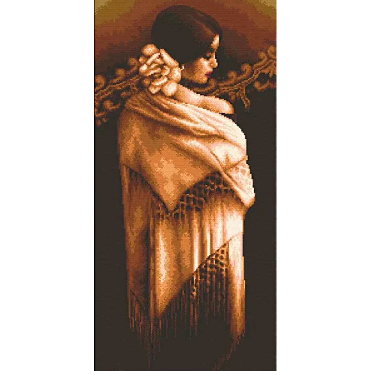 """Набор для вышивания крестом S-076 """"Девушка с шалью"""", 27x53 см, Hobby&Pro"""