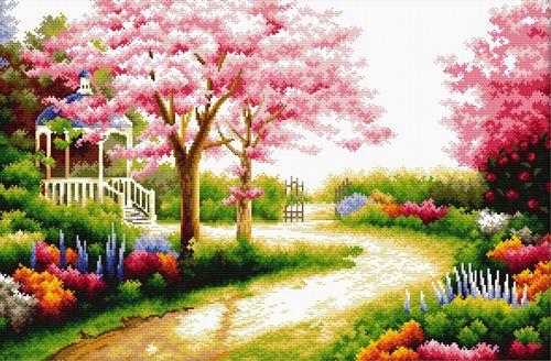 """Набор для вышивания крестом S-078 """"Весенний сад"""", 54x36 см, Hobby&Pro"""