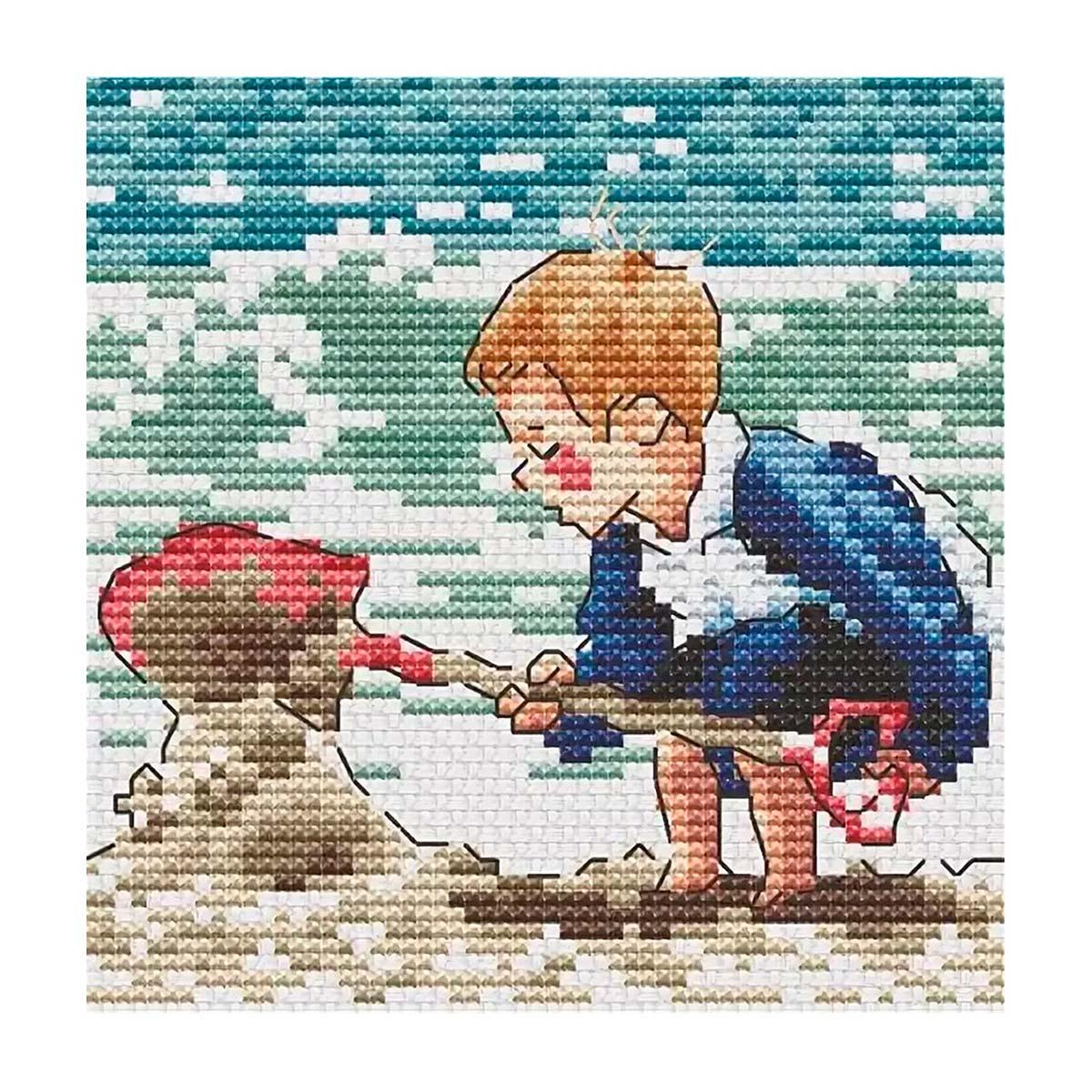 """Набор для вышивания крестом S-081 """"Пляжные игры"""", 9х9 см, Hobby&Pro"""