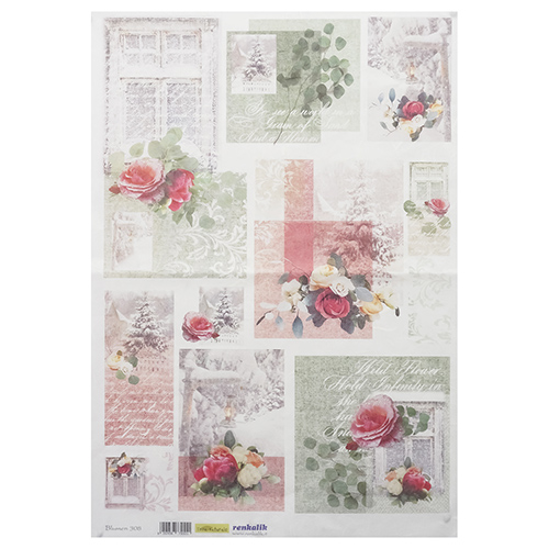QSIPR308 Декупажная бумага рисовая 'Цветы', плотность 25г/кв.м, 35х50см Renkalik