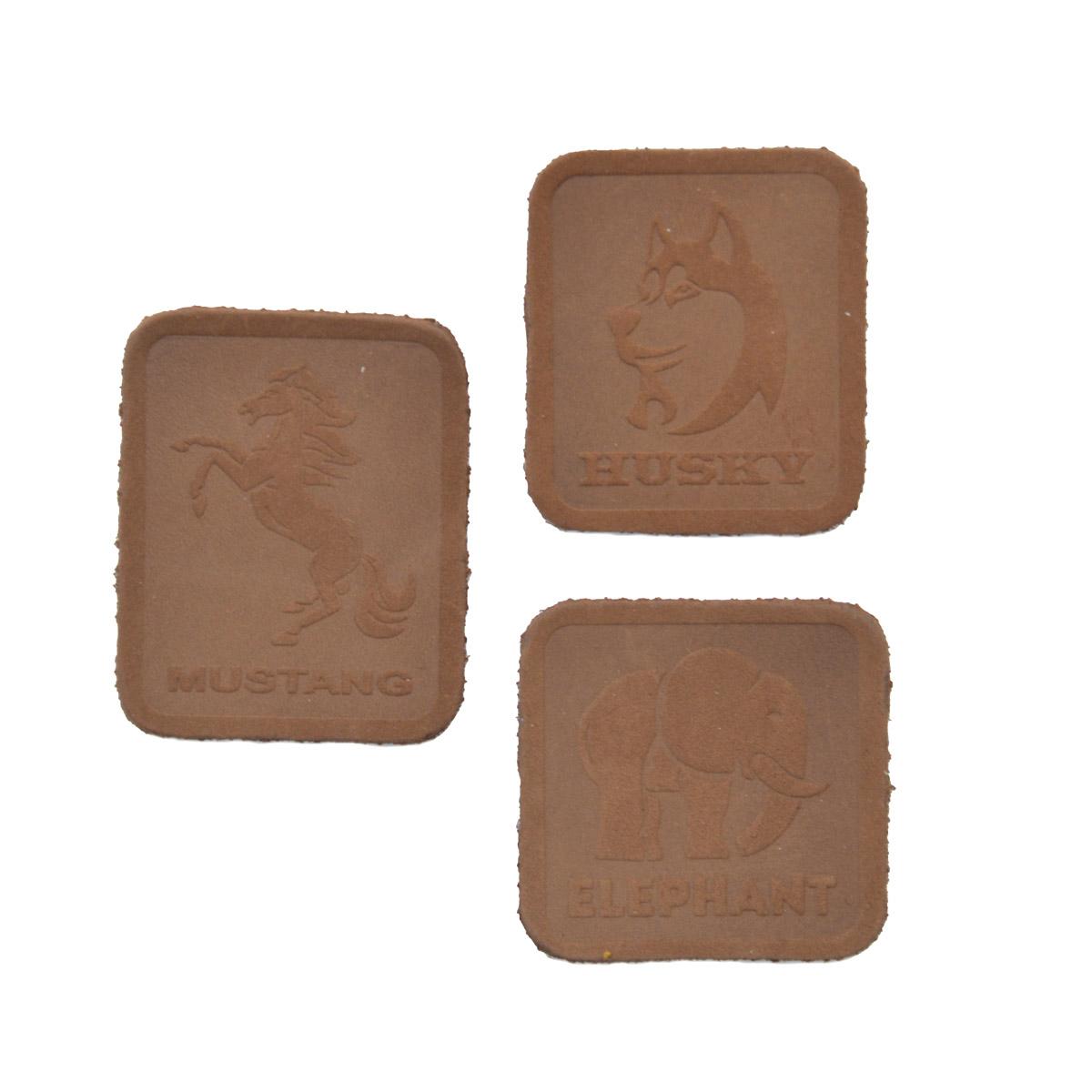 5006 Набор термоаппликаций из замши: Husky - 1шт. Mustang - 1шт. Elephant - 1шт, 100% кожа