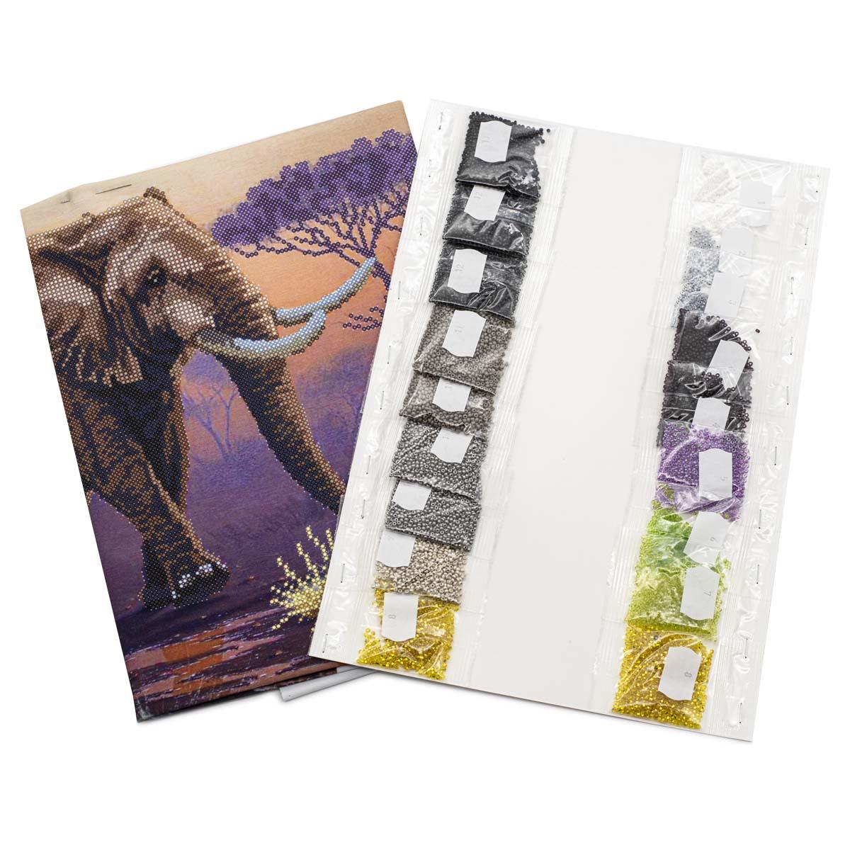 """Набор для вышивания бисером """"Слон"""" БН-3402, 40х30 см, Hobby&Pro"""