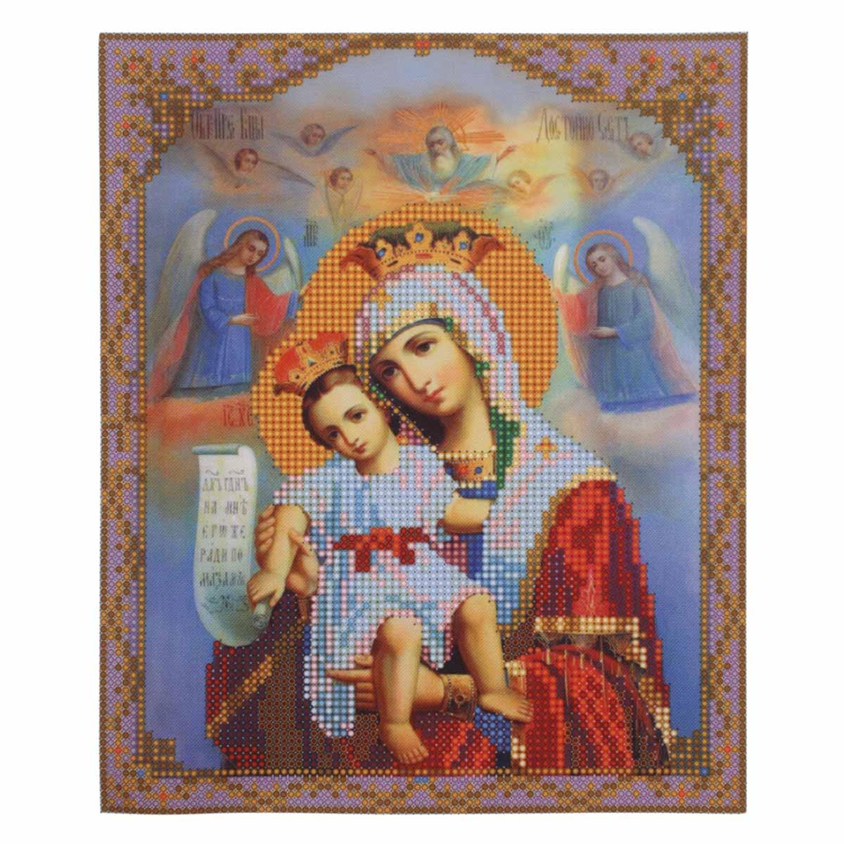 """Набор для вышивания бисером БН-4012 """"Икона Прествятой Богородицы «Достойно есть» (Милущая)"""", 19х23 см, Hobby&Pro"""
