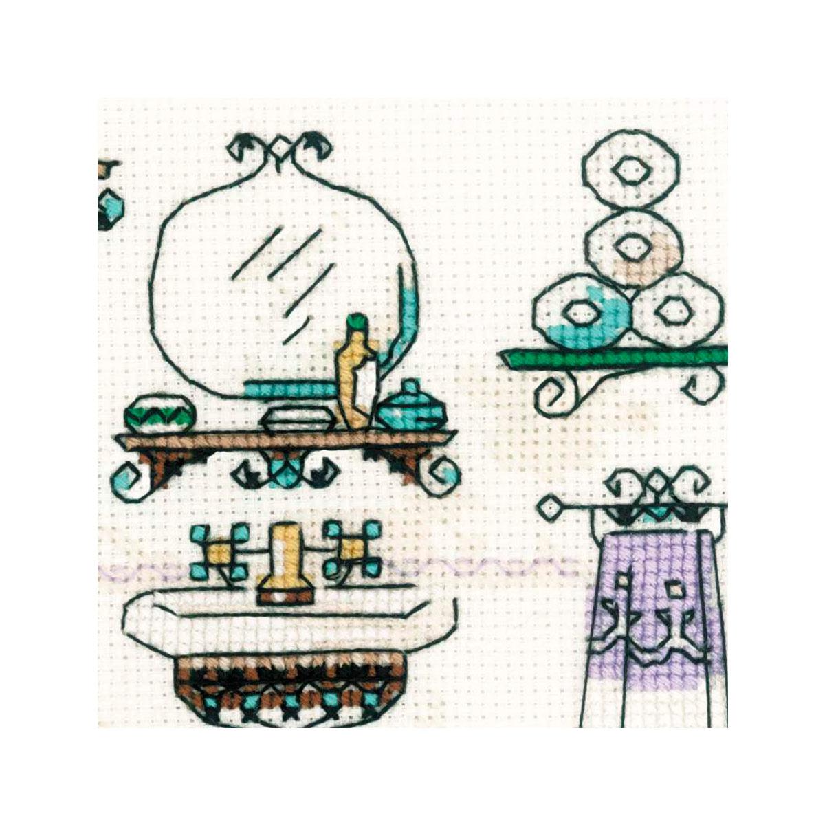 1737 Набор для вышивания Риолис 'Интерьер ванной комнаты'15*15 см