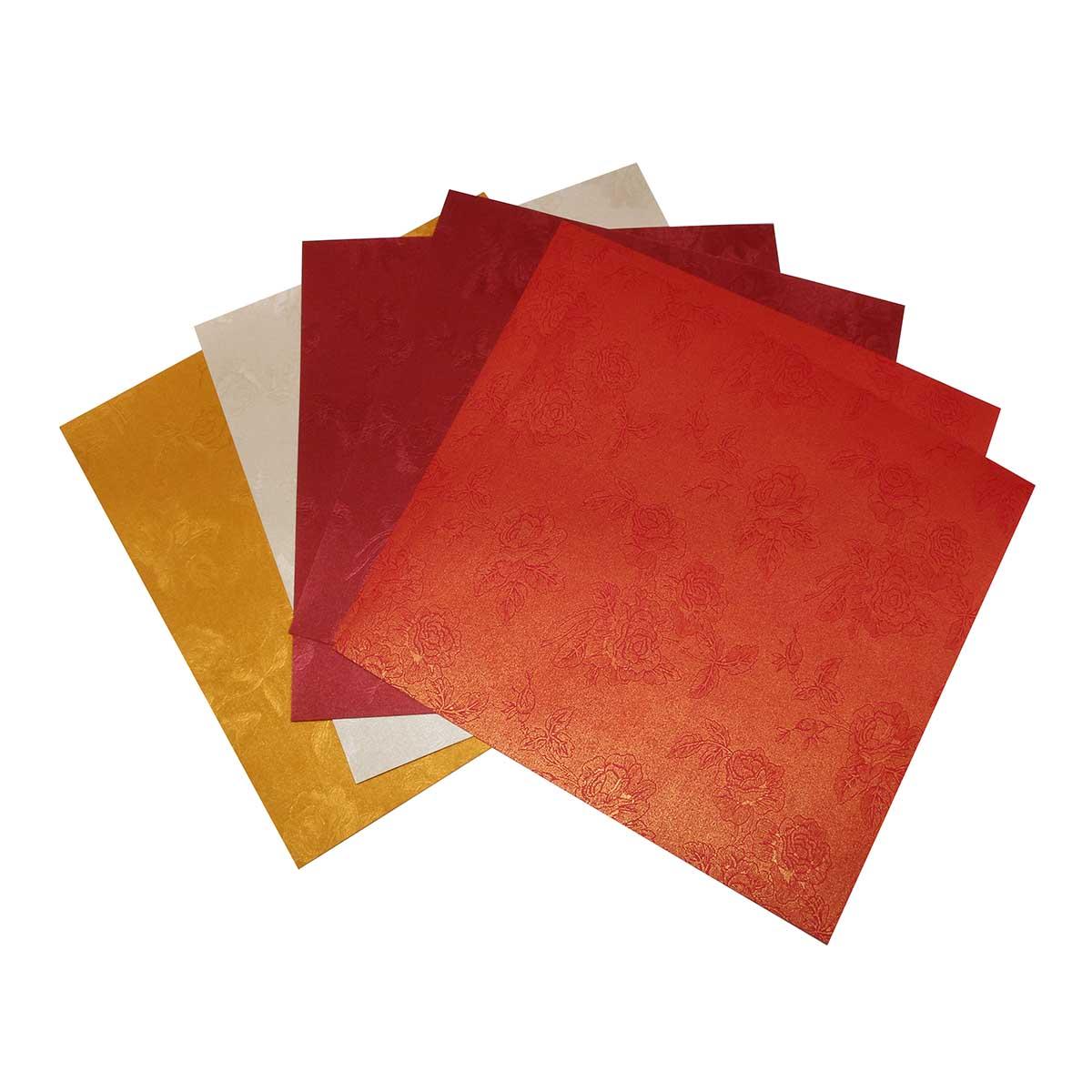Текстурированная бумага для квиллинга 120гр., 20,32см*20,32см 'Роза', маленькая упаковка