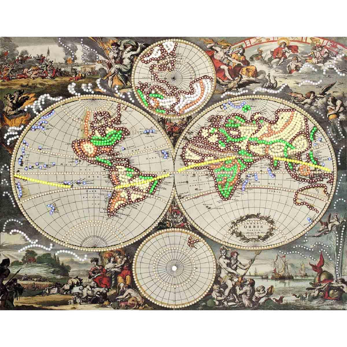 4222 Рисунок на шелке Матренин посад 'Пиратский план' 26*33см (37*49см)