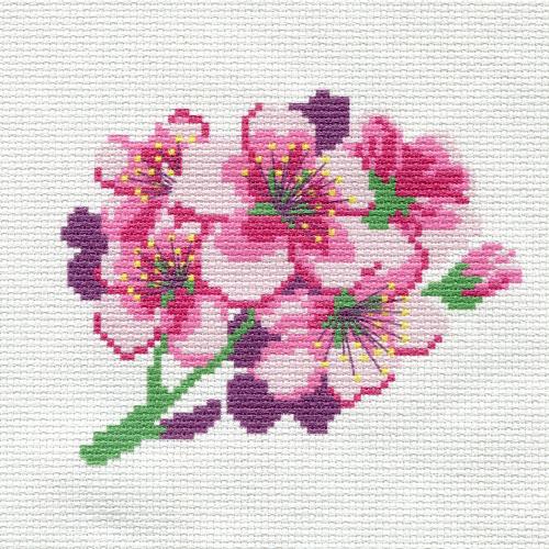 ПК-156 Набор (рис/канв. мулине) Hobby&Pro 'Вишня в цвету' 22*22 см