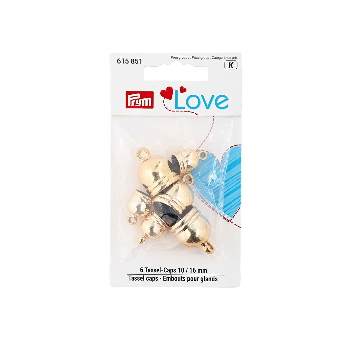 615851 Набор концевиков для кистей Prym Love, пластик, золотой цв. 10мм и 16мм 6шт Prym