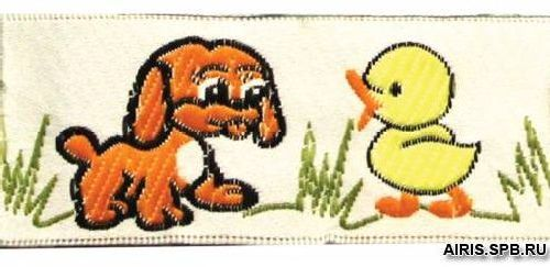 05-50102/28 Тесьма жаккард. оранж 'утенок и щенок'
