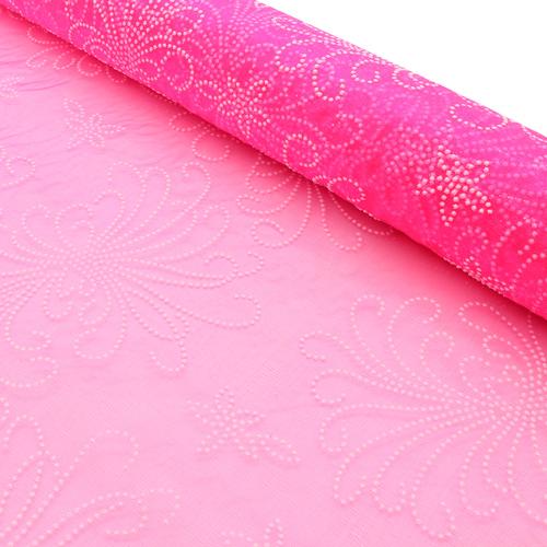 460039786 Органза с объемным рисунком Завитки 50см х 9.5м ярко-розовая