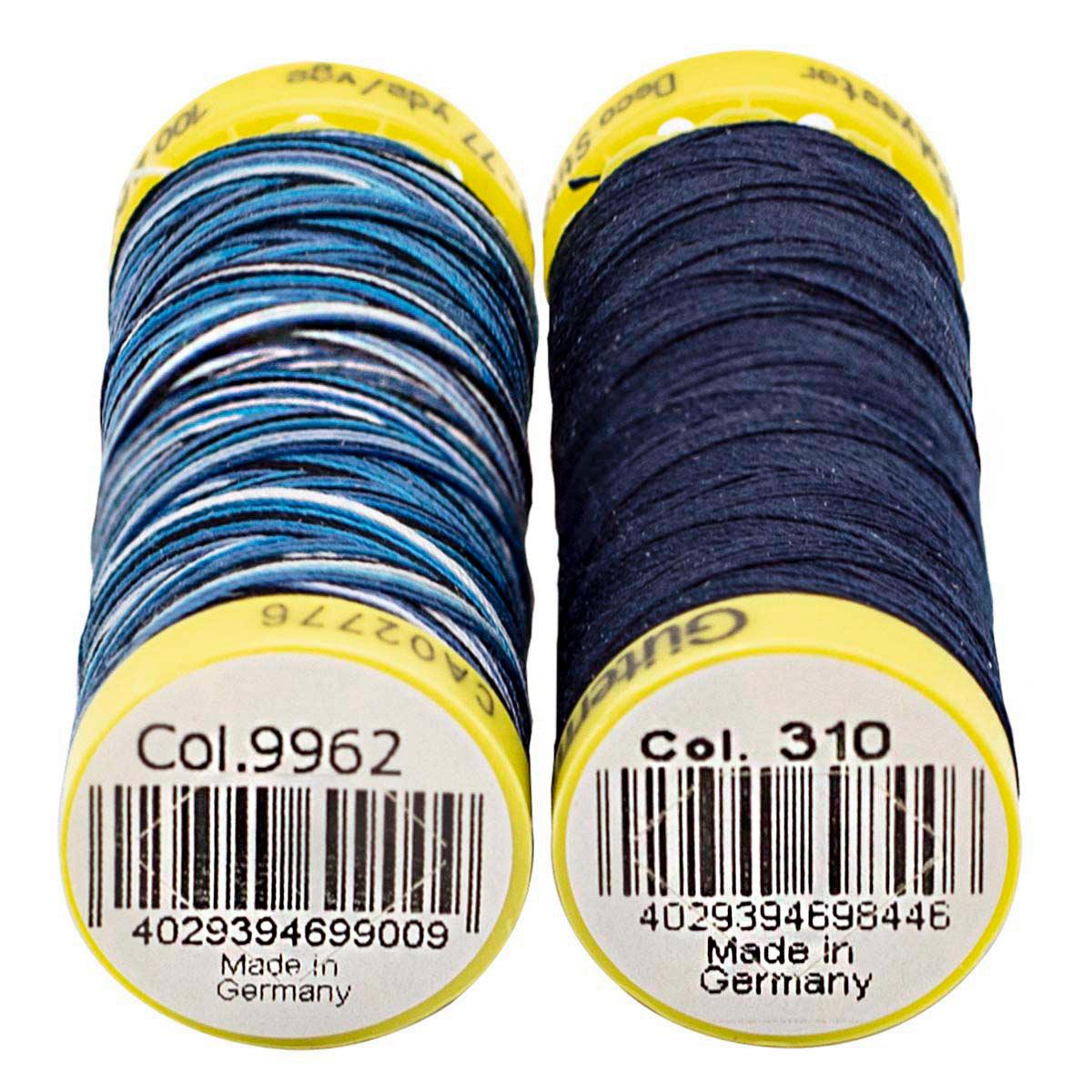 Набор шв. нитей (702160 Deco Stitch 70, однотон 70м, 702161 Deco Stitch 70 мультиколор 70м) Гутерман, 310 т.чернильный, 9962 мультиколор