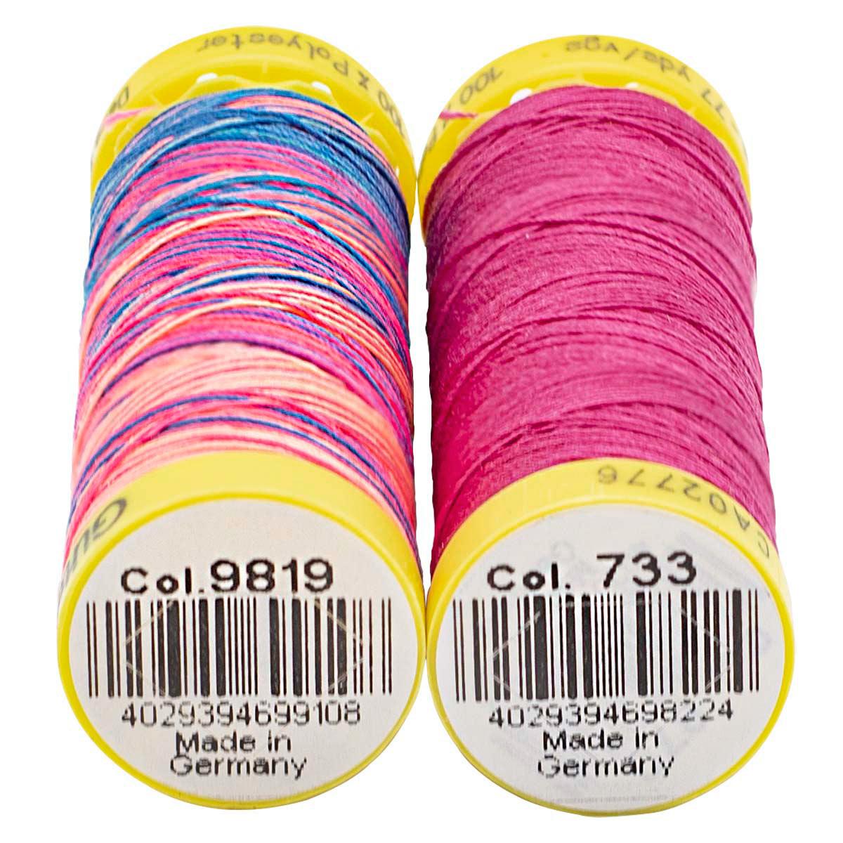 Набор шв. нитей (702160 Deco Stitch 70, однотон 70м, 702161 Deco Stitch 70 мультиколор 70м) Гутерман, 733 розовая фуксия, 9819 мультиколор