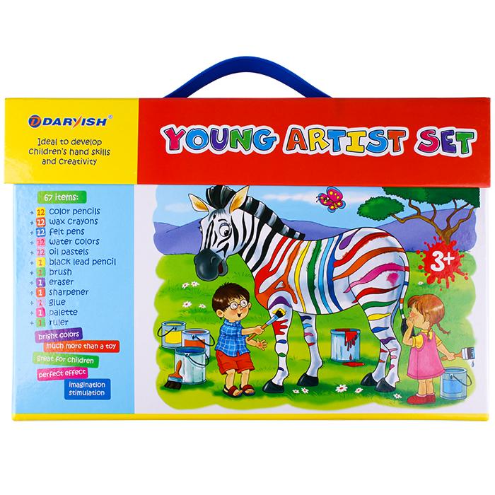 DV-3708 Набор для юного художника 67 предметов в чемодане на липучке