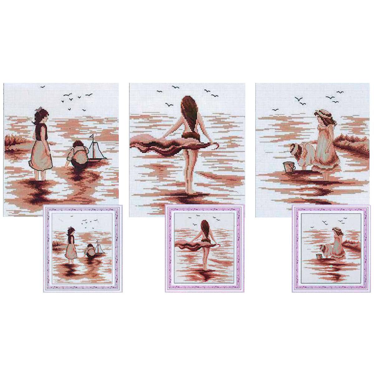 """Набор для вышивания крестом S-045 """"Триптих: пляжные тени"""", 71х26 см, Hobby&Pro"""